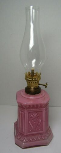 Antique England Pink Cased Square Glass Flower w/Hearts Miniature Oil Lamp