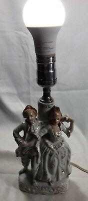 Vintage Viktorianisch Liebespaar Tanzend Figur Tischleuchte Bemalt Porzellan - Lampe Viktorianische Tisch Lampe