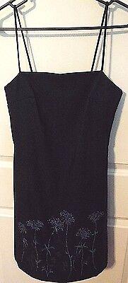 Rampage Ladies Navy Blue Sparkle Floral Stretchy Strap Dress Size 7 Dressy