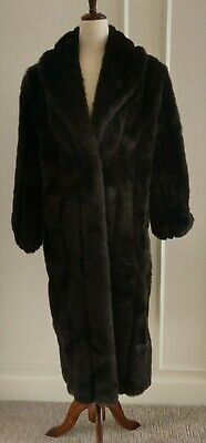 Monteray Fashions Faux Mink Fur Long Chocolate Brown Coat - 6 8 10 Mint cond!