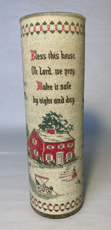 "Vintage Sugar Frosted Pillar Candle ""Bless This House"" Prayer Country, Farmhouse"