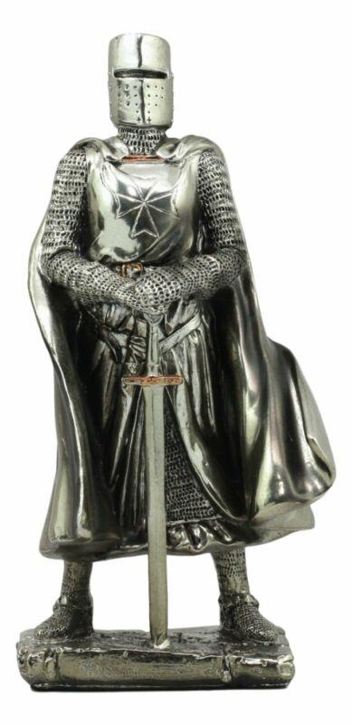 Medieval Holy Roman Empire Caped Crusader Knight w/ Sword Statue Suit Of Armor