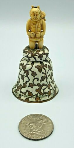 Chinese Hand Painted Enamel Floral Bell w/ Natural Carved Man Figurine Gemstone