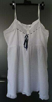 Neglige Neu weiß mit blauen Punkten Gr. 44/46 Spaghettiträger Sommer Nachthemd gebraucht kaufen  Staufen