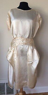 Stunning Antique Flapper 1920's Cream Silk Satin Wedding Dress Wearable