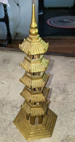 """Vintage Antique Japanese Asian Temple Pagoda 5 Tiers 8 3/4"""" Tall"""
