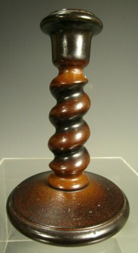 English Pottery Brown Stoneware Spiral Decor Stem Candlestick ca. 19th century