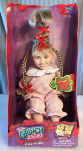 Vintage Dr. Seuss Grinch Christmas Cindy Lou Who Doll Spinning Pigtails 2000 BN!