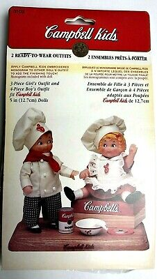 Campbell Kids Ready To Wear Chef Outfits Boy & Girl for 5 inch Dolls 1995 NIP](Chef Outfits For Kids)