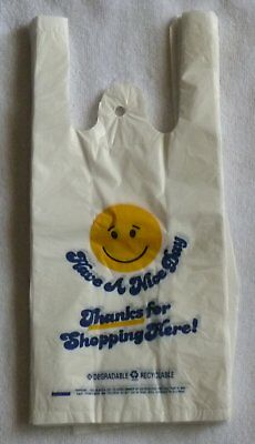 100 Smiley Thank-you T-shirt Shopping Bags 6x3x13 -13 small