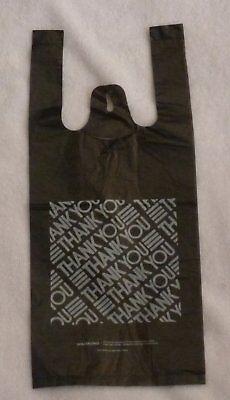 100 Black Thank-you T-shirt Shopping Bags 6x3x13 -13 small