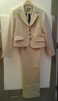 Dalia Pant Suit Size 12 Tan Sparkle Button Detail NWT Beige and Cream