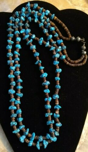 Navajo double strand Morenci turquoise, heishi & 925 bench bead necklace