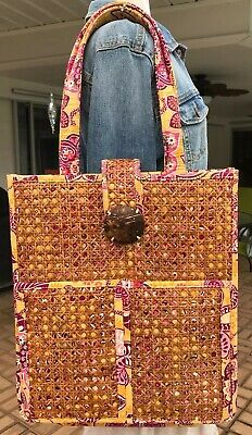 Vera Bradley Bali Gold Tiki Rattan Resort Vacation Shoulder Bag Box Tote Purse for sale  Fort Myers