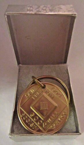 NARCOTICS ANONYMOUS  NA KEY TAG  3 Three YEAR Keyring medallion Serenity Clean