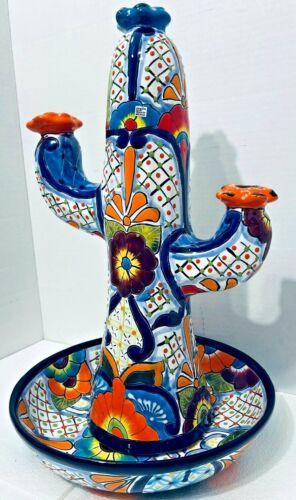Mexican Talavera Birdbath Fountain Cactus Waterfall Pottery Folk Art