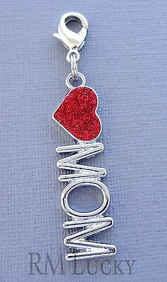 Love, MOM Heart Clip On Charm Lobster Clasp for Link Chain, Floating locket C192