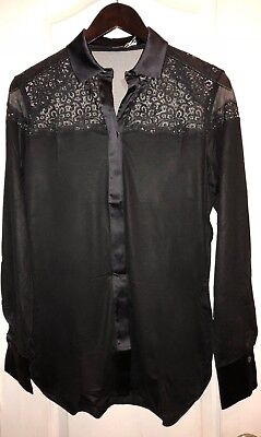 NWT $1008 LA PERLA Edenic Macrame Black Silk Long Sleeve Pajama Top Women's XS