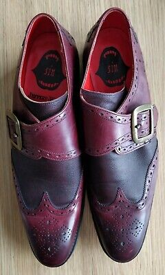 Jeffery West Shoes Red Leather with Monk Strap Size 9½ Hand Made In England