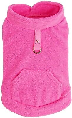 Expawlorer Dog Pet Coat Jacket Vest Clothes Hot Pink Small Harness w/ Pocket Fle