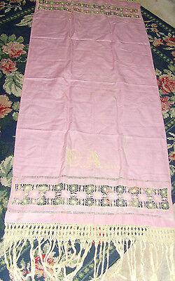 Beautiful vintage pink monogram runner or shawl spiderweb lace chic ladies piece