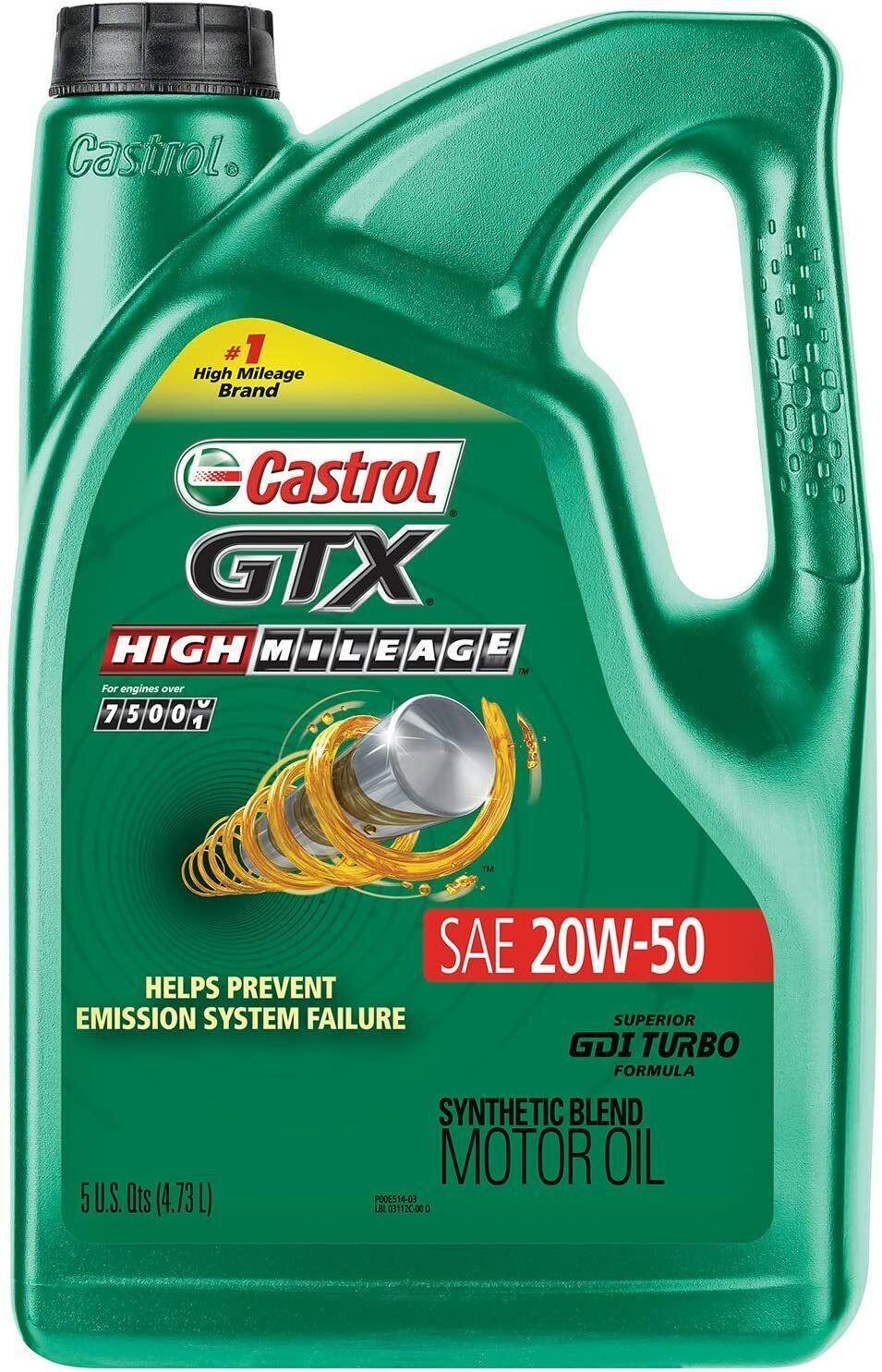 Castrol 03112 GTX High Mileage 20W-50 Synthetic Blend Motor Oil, 5 Quart