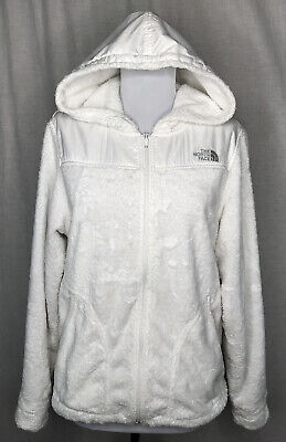 The North Face Womens Jacket Size Medium White Fuzzy Hooded FLAWS