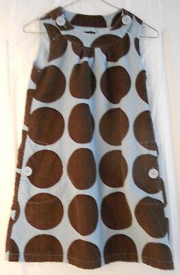 Mini Boden Girls Light Blue and Brown Polka Dots Corduroy Jumper Dress 9 10 Yrs - Girls Light Blue Dress