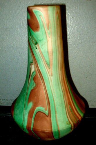 RARE Vintage Seven Falls Colorado Mission Pottery Vase Green Brown Swirl Pattern