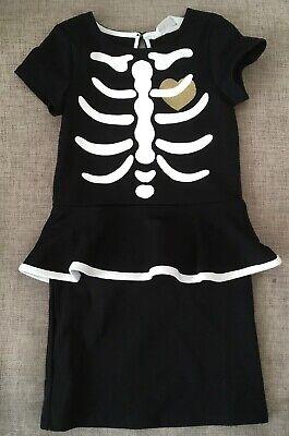 Mädchen Skelett Kleid Kostüm Karneval Fasching Gr. 110/116 schwarz Gold (Skelett Kostüm Mädchen)