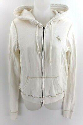 ABERCROMBIE & FITCH Womens Hoodie Jacket M Medium White Cotton