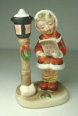 Inarco Japan figurine E238 girl caroling lamppost 1961 Christmas decor READ