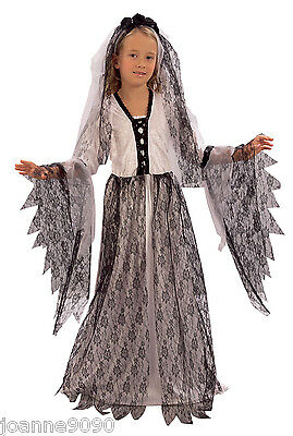 Girls Corpse Bride Dracula Frankenstein Zombie Halloween Fancy Dress Costume - Corpse Bride Costume For Girls