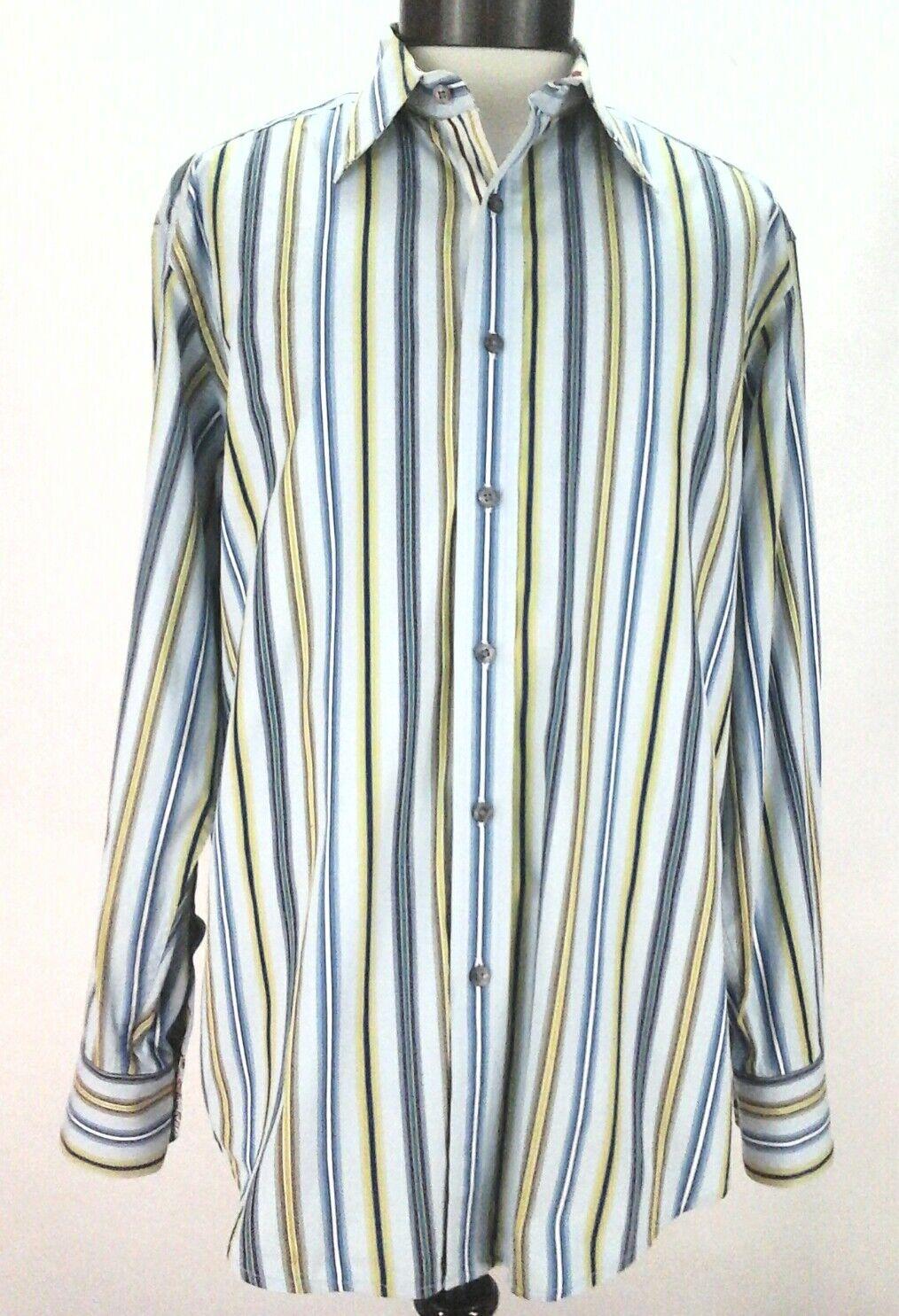 cf3cbd1c730b2 Details about ROBERT GRAHAM Shirt STRIPED Flip Cuff KEEP SMILING Blue  Button Down Men's L $198