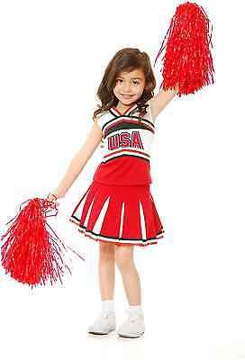 GIRLS USA SCHOOL CHEERLEADER FOOTBALL RUGBY VARSITY CHILD KIDS COSTUME RED - Child Football Costume