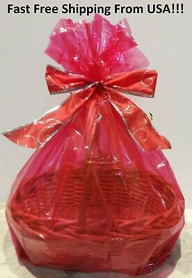 2 RED LARGE GIFT BASKET BAGS 24X30 Cellophane Christmas Baby & Easter FREE SHIP](Easter Gift Bags)