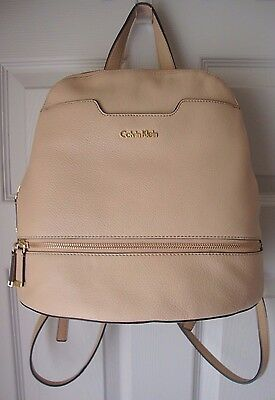 BRAND NEW CALVIN KLEIN WOMEN'S ON MY CORNER LEATHER BACKPACK NUDE MSRP $238.00