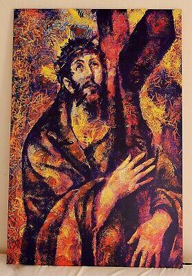Leinwandbild canvas print Wandbild Kunstdruck Jesus mit Dornenkrone und Kreuz (Kreuz Mit Dornenkrone)