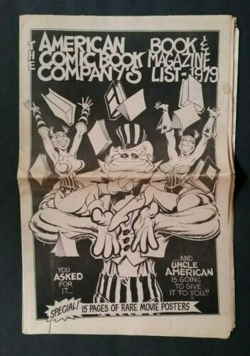 """""""AMERICAN COMIC BOOK CO. BOOK & MAGAZINE CATALOG 1979 THREE SECTIONS 38 PAGES"""
