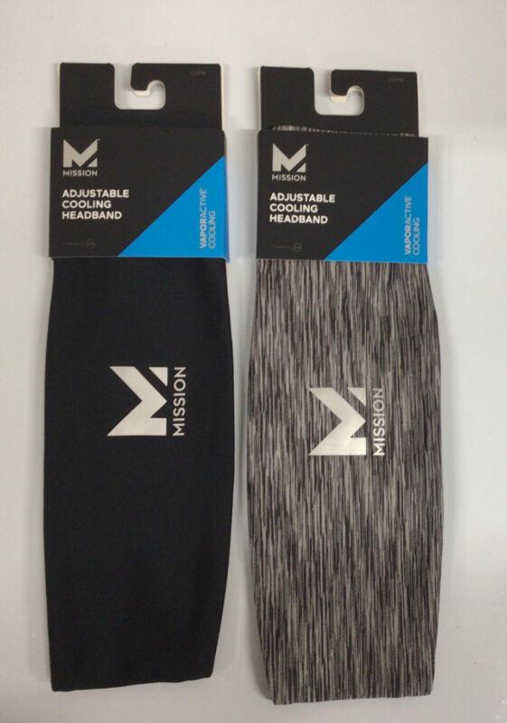 Set Of 2 MISSION Adjustable Cooling Headbands-1 Charcoal Space  Dye&1 Jet Black