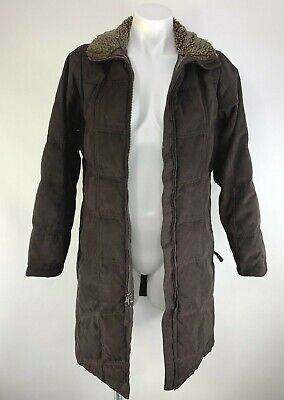 LL Bean Women Knee Length Long Down Coat Quilted Brown, Sherpa Size Small Petite for sale  Shipping to South Africa