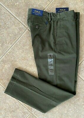 Polo Ralph Lauren Flat Front Chino Pants 32 x 30 Company Olive Classic Fit NWT