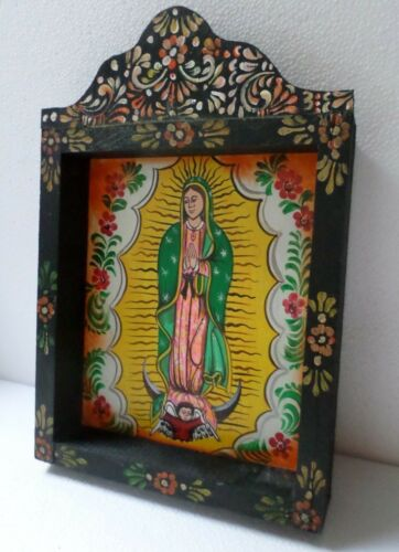 "Mexican Folk Art Framed Wall Box Niche Nicho Santo Virgin of Guadalupe 14"""