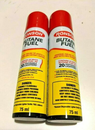 2  Ronson Butane 75ml/2.54 fl oz Refill Fuel Gas for Lighters/ Torch /