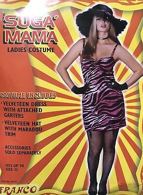80's Glam Punk Sugar Mama Rocker Adult Costume with Hat one size - 80s Punk Rocker Costume
