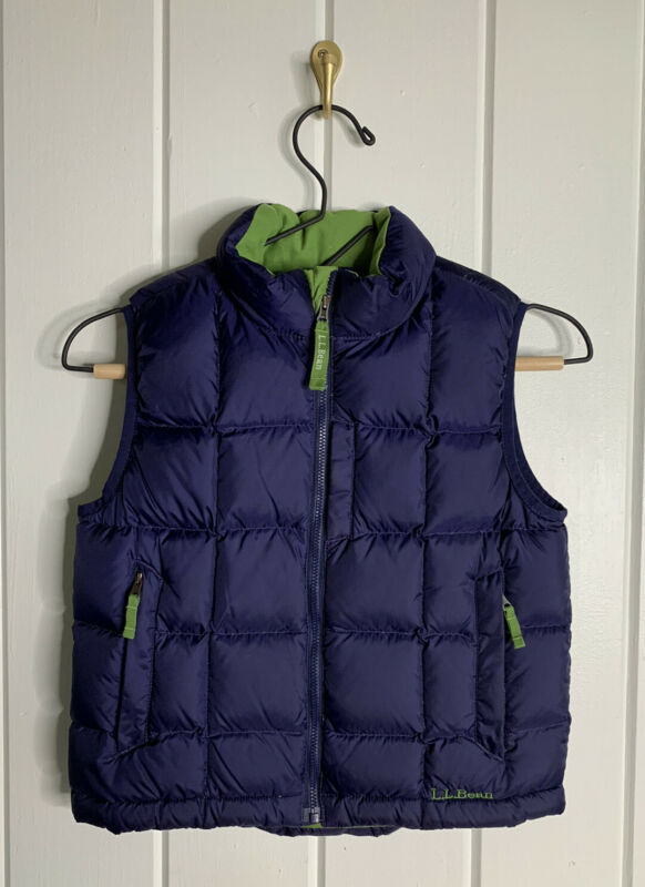 LL Bean Youth Goose Down Blue & Green Puffer Vest Zip-up Size Medium 5-6