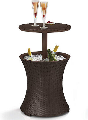 Keter 218305 Outdoor Patio Table With 7.5 Gallon Beer Cooler, Espresso Brown