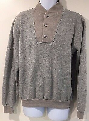 Sierra Trading Post Size Large Gray Pull Over Sweatshirt 3 Buttons  A7