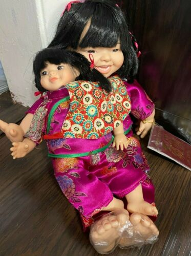 """Chinese Ruby Hong Kong Passport Doll with Baby 15"""" Passport w Tags China Dolls"""