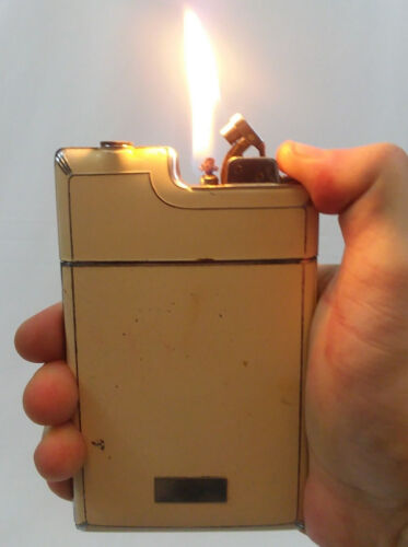 Vintage Evans Lighter Cigarette Case Combo, Yellow Enamel, Tested Working